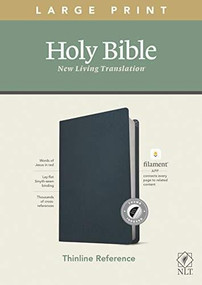 NLT Large Print Thinline Reference Bible, Filament Enabled Edition (Red Letter, Genuine Leather, Navy Blue, Indexed) by , 9781496445377