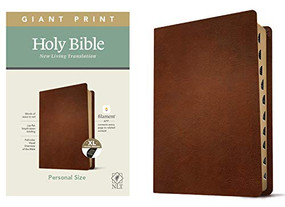 NLT Personal Size Giant Print Bible, Filament Enabled Edition (Red Letter, Genuine Leather, Brown, Indexed) by , 9781496445315