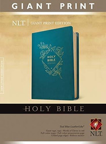 Holy Bible, Giant Print NLT (Red Letter, LeatherLike, Teal Blue) by , 9781496445391