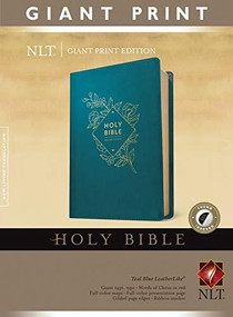 Holy Bible, Giant Print NLT (Red Letter, LeatherLike, Teal Blue, Indexed) by , 9781496445407