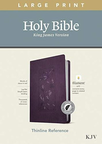 KJV Large Print Thinline Reference Bible, Filament Enabled Edition (Red Letter, LeatherLike, Floral Frame Purple, Indexed) by , 9781496447227