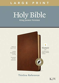 KJV Large Print Thinline Reference Bible, Filament Enabled Edition (Red Letter, Genuine Leather, Brown, Indexed) by , 9781496447265