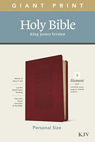 KJV Personal Size Giant Print Bible, Filament Enabled Edition (Red Letter, LeatherLike, Diamond Frame Cranberry) by , 9781496447661
