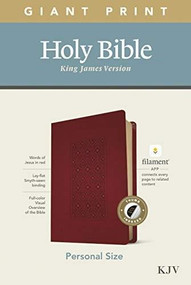 KJV Personal Size Giant Print Bible, Filament Enabled Edition (Red Letter, LeatherLike, Diamond Frame Cranberry, Indexed) by , 9781496447708