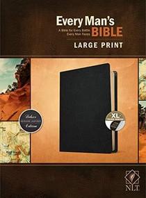 Every Man's Bible NLT, Large Print (Genuine Leather, Black, Indexed) by Stephen Arterburn, Dean Merrill, 9781496447937