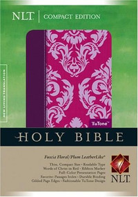 Compact Edition Bible NLT, Floral TuTone (LeatherLike, Fuchsia Floral/Plum) by , 9781414314006