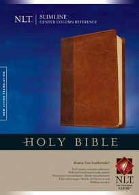 Slimline Center Column Reference Bible NLT, TuTone (Red Letter, LeatherLike, Brown/Tan) by , 9781414327082