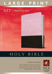 Holy Bible NLT, Personal Size Large Print edition, TuTone (Red Letter, LeatherLike, Pink/Brown, Indexed) by , 9781414337470
