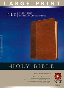 Slimline Center Column Reference Bible NLT, Large Print, TuTone (Red Letter, LeatherLike, Brown/Tan, Indexed) by , 9781414338514