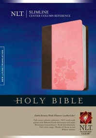Slimline Center Column Reference Bible NLT, TuTone (Red Letter, LeatherLike, Dark Brown/Pink Flowers, Indexed) by , 9781414368351