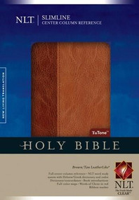 Slimline Center Column Reference Bible NLT, TuTone (Red Letter, LeatherLike, Brown/Tan, Indexed) by , 9781414368368