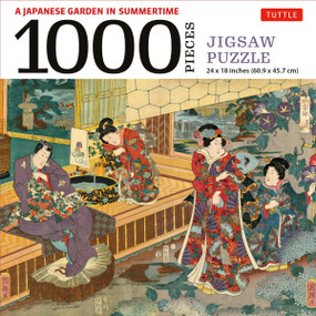 A Japanese Garden in Summertime - 1000 Piece Jigsaw Puzzle (A Scene from THE TALE OF GENJI, Woodblock Print (Finished Size 24 in X 18 in)) by  Tuttle Publishing, Utagawa Kuniteru, 9780804854153