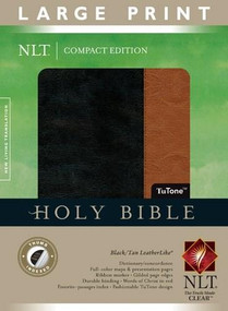 Compact Edition Bible NLT, Large Print, TuTone (Red Letter, LeatherLike, Black/Tan, Indexed) by , 9781414387680