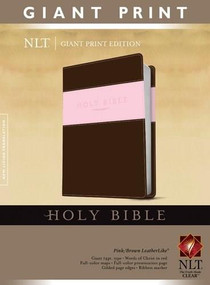 Holy Bible, Giant Print NLT, TuTone (Red Letter, LeatherLike, Pink/Brown) by , 9781414398426