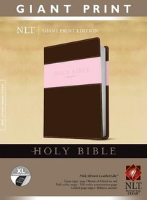 Holy Bible, Giant Print NLT, TuTone (Red Letter, LeatherLike, Pink/Brown, Indexed) by , 9781414398433