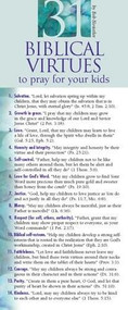 31 Biblical Virtues to Pray for Your Kids 50-pack by Bob Hostetler, 9781576839003