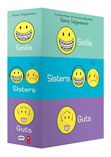 Smile, Sisters, and Guts: The Box Set by Raina Telgemeier, Raina Telgemeier, Raina Telgemeier, Raina Telgemeier, 9781338599459