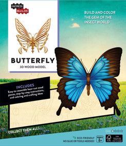 INCREDIBUILDS: BUTTERFLY 3D WOOD MODEL by INSIGHT EDITIONS,, 9781682980316