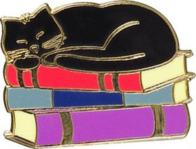 Cat with Books Hard Enamel Pin by , 9781441335326