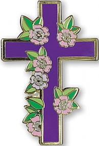 Floral Cross Hard Enamel Pin by , 9781441330970