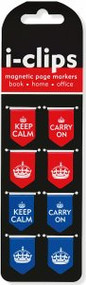 Keep Calm & Carry On i-Clips Magnetic Page Markers by , 9781441316790