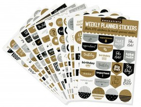 Essentials Weekly Planner Stickers, Black & Gold (set of 575 stickers) by , 9781441327703