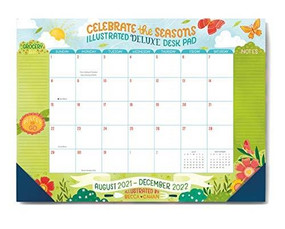 2022 Celebrate the Seasons Illustrated Deluxe Desk Pad by Becca Cahan, 9781531914356