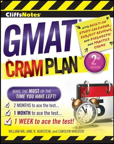 CliffsNotes GMAT Cram Plan, 2nd Edition by Carolyn C. Wheater, Jane R. Burstein, William Ma, 9781118134177