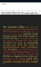 'We Needed Coffee But . . .' by Matthew Welton, 9781847770028