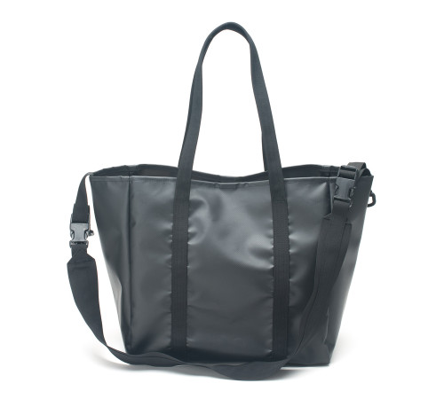 All Weather 2 Way Tote Bag - Black - Front with Strap