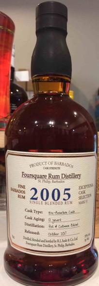 Foursquare 2005 Cask Strength Barbados Rum 12YO