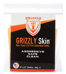 """Grizzly Skin Non-Toxic CLP Pre-Saturated Cloths 6"""" x 6"""" QTY. 4"""