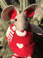 Large Red and White Fabric Mouse