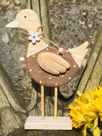 Spotty wooden duck on stand
