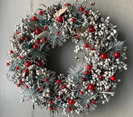 Grey & Red Berry Wreath