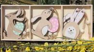 Boxed Wooden Hanging Easter Bunnies