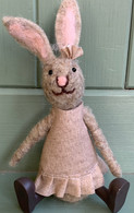 Pink Wool Sitting Bunny