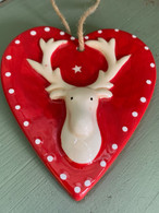 Red Ceramic Stag Heart