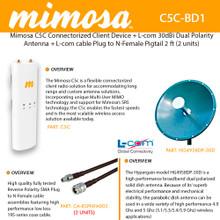 Mimosa C5C Device + L-com HG4958DP-30D 30dBi Dual Polarity Dish Antenna + L-com cable Plug to N-Female (2 UNITS) (C5C-BD1)