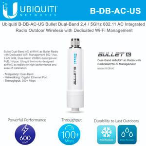 Ubiquiti Networks B-DB-AC-US Bullet Dual-Band 2.4/5GHz 802.11 AC Integrated Radio Outdoor Wireless (B-DB-AC-US)