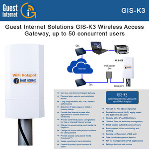 Guest Internet GIS-K3 Outdoor Hotspot Wireless Gateway with up to 100Mb/s throughput (GIS-K3)