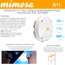 Mimosa - B11, 10-11 GHz, 27 dBm, 1.5Gbps capable PTP backhaul with GPS Sync (100-00036-HW)
