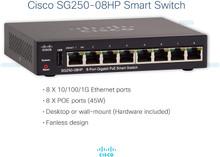 Cisco SG250-08HP-K9-NA PoE 8-Ports Ethernet Switch Layer 2 (SG250-08HP-K9-NA)