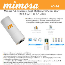 Mimosa Networks - 100-00017 - A5-14-NA, A5-360 5GHz AP w/ 14 dBi 360D Quad Sector Integrated (100-00017)
