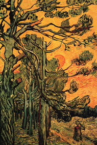 Pine Trees Against A Red Sky With Setting Sun by Van Gogh