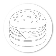 Emoji One COLORING Wall Graphic: Circle Hamburger