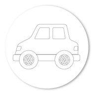 Emoji One COLORING Wall Graphic: Circle Automobile