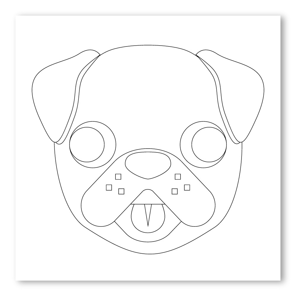 Emoji One COLORING Wall Graphic: Square Dog Face - Walls 360