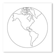 Emoji One COLORING Wall Graphic: Square Earth Globe Americas