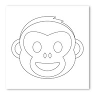 Emoji One COLORING Wall Graphic: Square Monkey Face